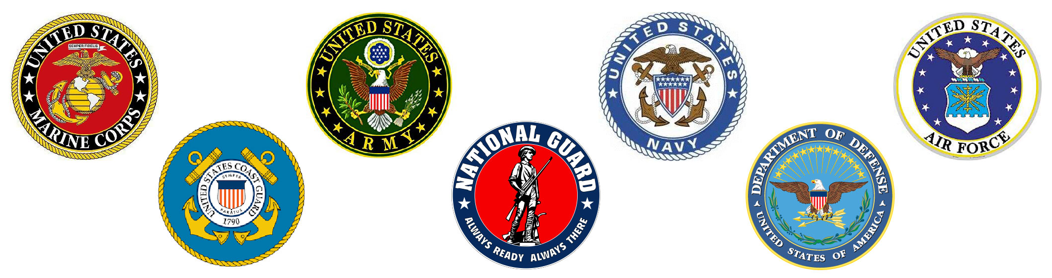 All of the United States Military Emblems, for Marine Corps, Coast Guard, Army, National Guard, Navy, Department of Defense and Air Force